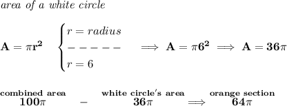 \bf \textit{area of a white circle}\\