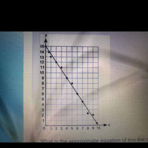 Dennie's drew the line of best fit on the scatter plot below what is the approximate equation of thi