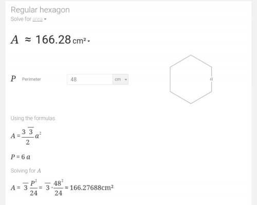 How do i find the area of a regular hexagon with perimeter of 48cm?