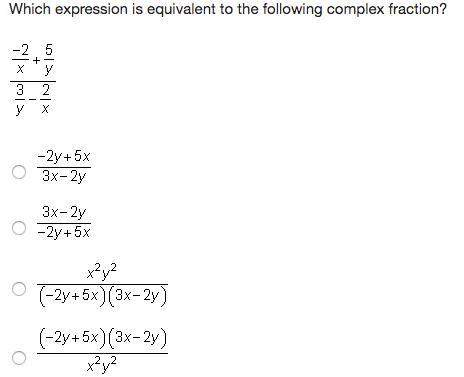 (hurry! ) which expression is equivalent to the following complex fraction?