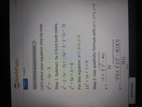 Which Are The Solutions Of The Quadratic Equation? X2