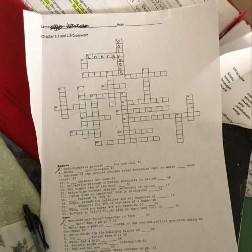 Chapter 2.2 and 2.3 biology crossword