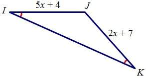 If angle i is congruent to angle k, find jk.