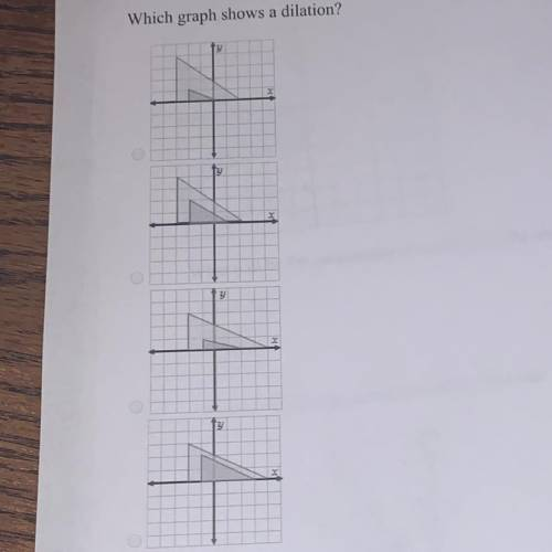Which graph shows dilation?