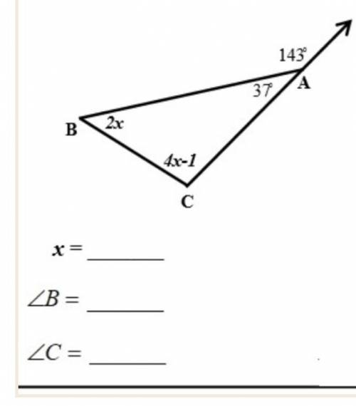 Find the value of X, angle B and angle C
