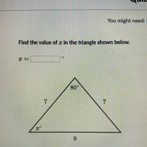 Find the value of c in the triangle shown below....</a></div><div class=