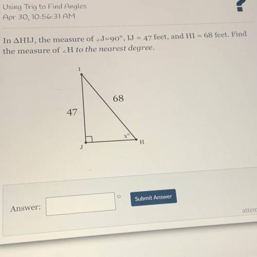 Help please !! using trig to find angles