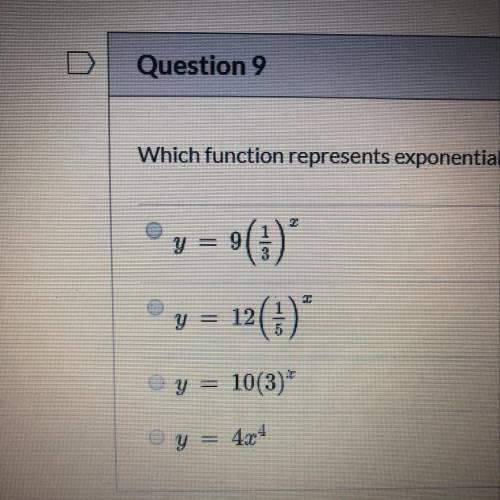 Which function represents exponential growth