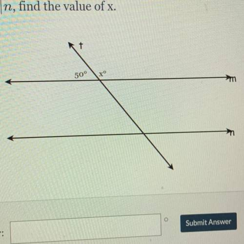 Given m|n, find the value of x.